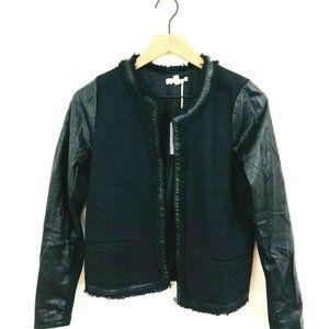NWT! Hem & Thread Faux Leather/Tweed Jacket Large